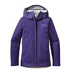 patagonia womens torrentshell jacket - closeout- Save 35% Off - Patagonia Womens Torrentshell Jacket - Closeout - Aside from stunning landscapes, Southern Patagonia is known for one thing: wet weather. For trekking and hiking in drenching conditions, our Torrentshell Jacket provides H2NoA(R) Performance Standard protection that's durable, lightweight and simple. We've improved the fit, and the 2.5-layer nylon rain jacket has a waterproof/breathable barrier, a DelugeA(R) DWR (durable water repellent) finish and stuffs into one of two zippered handwarmer pockets (with a carabiner clip-in loop). The hood rolls down, stows away, and has a laminated visor; the center zipper now has sleek minimal-welt exterior and interior storm flaps; and the ventilating pit zips have storm flaps and Deluge DWR-treated zippers. With a microfleece-lined neck, hook-and loop cuff closures and a drawcord hem. Details H2NoA(R) Performance Standard shell with waterproof/breathable 2.5-layer nylon ripstop repels moisture 2-way-adjustable hood with a laminated visor rolls down and stows Microfleece-lined neck provides comfort and protects waterproof/breathable barrier Center-front zipper features minimal welt exterior and interior storm flaps that create a zipper-garage chin guard Pockets: two zippered handwarmers and venting pit zips, all with welted exterior storm flaps and DWR-treated zippers Self-fabric hook-and-loop cuff closures and adjustable drawcord hem seal out moisture Stows in self-stuff handwarmer pocket with carabiner clip-in loop; Re-engineered pattern for improved fit H2NoA(R) Performance Standard shell: 2.5-layer, 2.6-oz 50-denier 100% nylon ripstop with a waterproof/breathable barrier and a DelugeA(R) DWR (durable water repellent) finish 345 g (12.2 oz) Made in Vietnam.