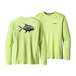 patagonia mens graphic tech fish tee- Save 20% Off - Patagonia Mens Graphic Tech Fish Tee - On the water or around town, let your fish flag fly. Our Graphic Tech Fish Tee gives you the relaxed, casual feel of a long-sleeved T-shirt with the quick-drying, fast-wicking technology of our Tropic Comfort fabric. A ribbed neckband provides comfort, while bold, fish-centric graphics show the world where your interests lie. New, supersoft 100% polyester jersey features improved wicking, permanent Polygiene odor control and 50+ UPF sun protection. Nine styles available with different graphics, including original fishing-inspired art. Fair Trade Certified sewing.