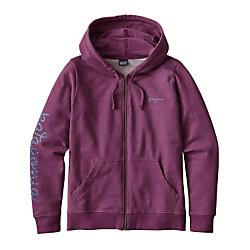 patagonia womens rope script midweight full-zip hoody - closeout- Save 20% Off - Patagonia Womens Rope Script Midweight Full-Zip Hoody - Closeout - Fancy rope work isnt just for the rockthe Rope Script Midweight Full-Zip Hoody rounds up another favorite Rockies pastime. Artwork by Jonathon Wolfer is screen-printed at right sleeve and left chest with PVC- and phthalate-free inks on medium-weight organic cotton/polyester/spandex fleece fabric. Classic full-zip hoody design and a casual, regular fit. Lined, two-panel hood traps heat. Rib-knit cuffs and waistband won't lose their snap; two front patch pockets hold essentials. Fair Trade Certified sewing throughout garment.