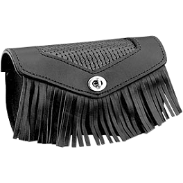 Honda Genuine Accessories Leather Front Pouch - Fringed - 2012 Honda Sabre 1300 - VT1300CS Honda Genuine Accessories Leather Touring Bag - Fringed