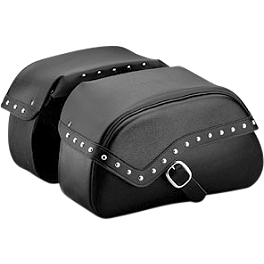 Honda Genuine Accessories Leather Saddlebags - 24L Studded - 2004 Honda VTX1800R2 Honda Genuine Accessories Leather Saddlebags - 24L Fringed
