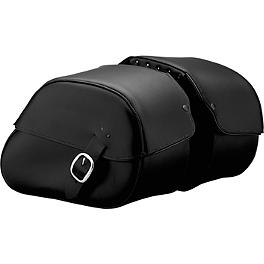 Honda Genuine Accessories Leather Saddlebags - 18L Plain - 2006 Honda VTX1800F1 Honda Genuine Accessories Synthetic Leather Saddlebags - 18L Studded