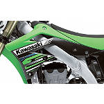 Kawasaki Genuine Accessories Left Radiator Shroud - Green / Black - Kawasaki OEM Parts Dirt Bike Body Parts and Accessories
