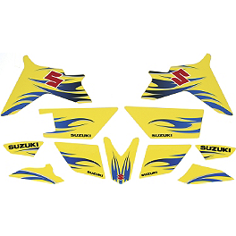 Suzuki Genuine Accessories Tribal Graphic Kit - White/Yellow - Suzuki Genuine Accessories Seat Cover - Tribal Red / Yellow