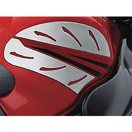 Suzuki Genuine Accessories Tank Side Trim - Silver Carbon - Suzuki Genuine Accessories Mirror Covers - Chrome
