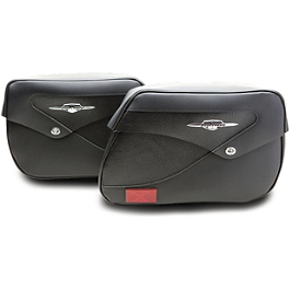 Suzuki Genuine Accessories Leather Saddlebags - Classic - 2011 Suzuki Boulevard C50T - VL800T Suzuki Genuine Accessories Synthetic Leather Saddlebags - Studded
