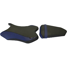 GYTR HT Moto Seat Covers - Black / Blue - GYTR Carbon Fiber Lower Tank Trim
