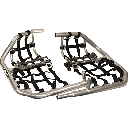AC Racing MX Peg Nerf Bars - Silver - Blingstar Factory Nerf Bars With Integrated Heel Guard - Polished Aluminum