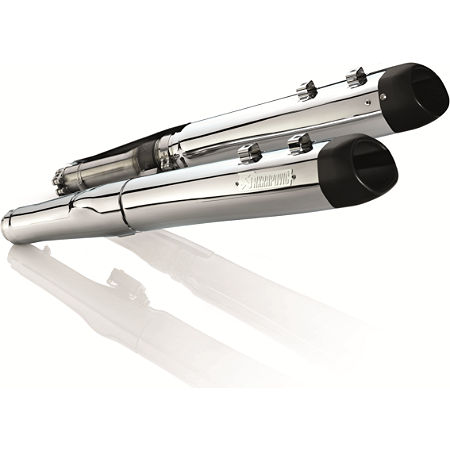 Akrapovic Slip-On Exhaust - Chrome With Black Tips - Main