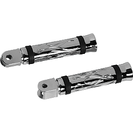 Arlen Ness Flamed Front Footpegs - 2000 Honda Valkyrie 1500 - GL1500C Arlen Ness Battistini Round Rear Footpegs - Black