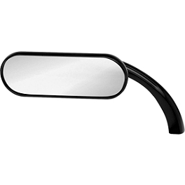 Arlen Ness Mini Oval Micro Mirror - Black Left - Arlen Ness Diamond Flatband Grips