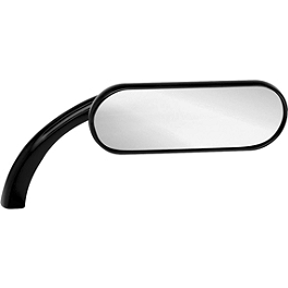 Arlen Ness Mini Oval Micro Mirror - Black Right - Arlen Ness Big Sucker Kit - Scalloped Cover