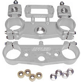Applied Factory R/S Triple Clamp Set With Oversized Bar Mounts - 21.5mm Offset - Silver - 2010 Suzuki RMZ250 Applied R/S Triple Clamp Kit With Oversized Bar Mounts - 21.5mm Offset - Silver