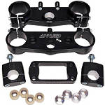 Applied Factory R/S Triple Clamp Set With Oversized Bar Mounts - 24mm Offset - Black - Dirt Bike Triple Clamps & Clamp Kits