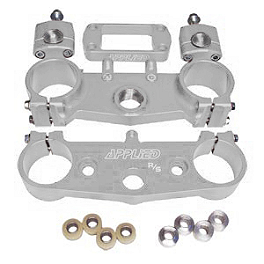 Applied Factory R/S Triple Clamp Set With Oversized Bar Mounts - 21.5mm Offset - Silver - 2013 Suzuki RMZ450 Applied R/S Triple Clamp Kit With Oversized Bar Mounts - 21.5mm Offset - Silver
