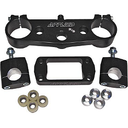 Applied R/S Triple Clamp Kit With Oversized Bar Mounts - Black - 2002 Honda CR250 Applied Works Top Clamp - Silver