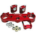 Applied R/S Triple Clamp Kit With Oversized Bar Mounts - 24mm Offset - Red - Dirt Bike Bars and Controls