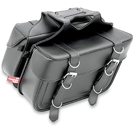 All American Rider Box-Style Slant Saddlebags - Arlen Ness Teardrop Alt Mirror - Black Left
