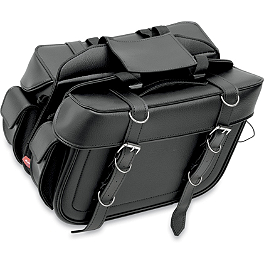 All American Rider Box-Style Slant Saddlebags - Detachable - Show Chrome Foam Lever Grip