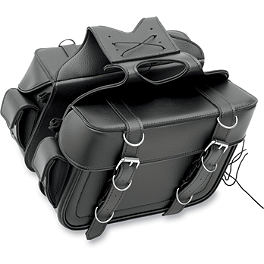 All American Rider Box-Style Slant Saddlebags With Rear Pocket - All American Rider Slant Flap-Over Saddlebags