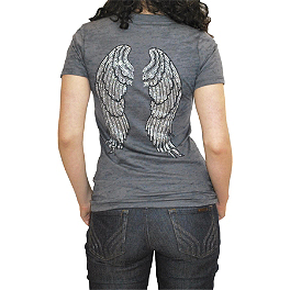 Bika Chik Women's Crystal Wings Burnout T-Shirt - Metal Mulisha Women's Gateway V-Neck T-Shirt