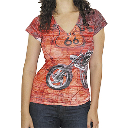 Bika Chik Women's Route 66 Burnout T-Shirt - Bika Chik Women's Look Hot, Ride Hard T-Shirt