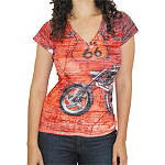 Bika Chik Women's Route 66 Burnout T-Shirt - Bika Chik Cruiser Womens Casual