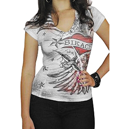 Bika Chik Women's Wings & Heart Burnout T-Shirt - Bika Chik Women's Route 66 Burnout T-Shirt