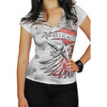 Bika Chik Women's Wings & Heart Burnout T-Shirt - Bika Chik Cruiser Products