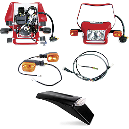 Baja EZ Mount Dual Sport Kit - 1990 Honda CR500 Baja Designs Enduro Light Kit Option 2 - Red