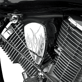 Baron Chrome Mini Teardrop Air Cover - Enferno - 2007 Yamaha Road Star 1700 Warrior - XV17PC Baron Bullet Ends For ISO Grips
