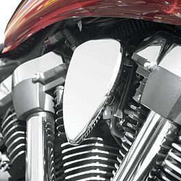 Baron Chrome Mini Teardrop Air Cover - Smooth - 2002 Yamaha V Star 1100 Classic - XVS1100A Baron Bullet Ends For ISO Grips