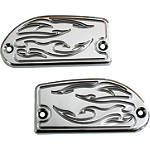 Baron Brake & Clutch Master Cylinder Covers - Flame - Baron Custom Accessories Cruiser Products