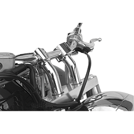 Baron Kickback Risers - Chrome - 2008 Yamaha Road Star 1700 Midnight Warrior - XV17PCM Baron Bullet Ends For ISO Grips