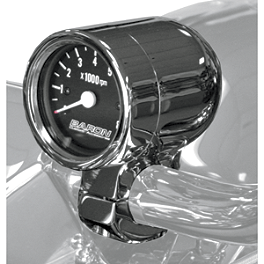 "Baron 3"" Bullet Tachometer 1.5"" Bars - 2007 Harley Davidson Dyna Street Bob - FXDB Baron Custom Accessories Big Air Kit Cover - Chrome V-125C.I."