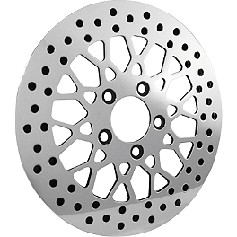 "Biker's Choice Polished 11.5"" Mesh Style Brake Rotor - Front - Biker's Choice DOT Brake Line Kit - Rear"