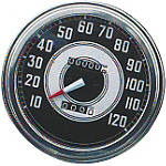 "Biker's Choice 5"" FL Type Speedometer - 41-45 Silver & Black Face - Harley Davidson Dirt Bike Dash and Gauges"
