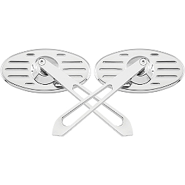 Biker's Choice Oval Grooved Slotted Mirrors With Sword Stem - Biker's Choice Custom Fat Pullback Bars For Honda Cruisers
