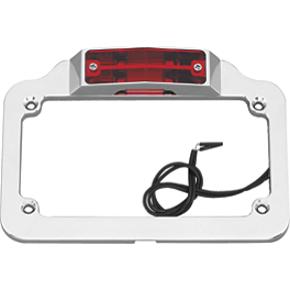 Biker's Choice License Plate Frame Backing - Twin Light - Show Chrome Raised License Plate Holder - Red Turn Signals