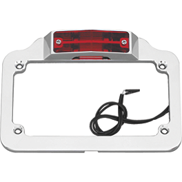 Biker's Choice License Plate Frame - Twin Light - Show Chrome Raised License Plate Holder - Dual Function