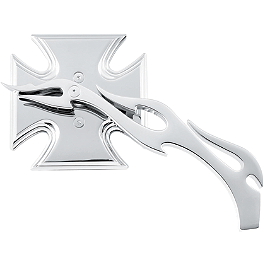 Biker's Choice Maltese Cross Mirror With Flame Stem - Arlen Ness Flamed Mirror Die-Cast Stem - Right