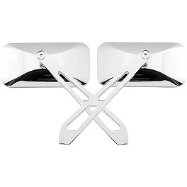 Biker's Choice Rectangular Slotted Mirrors With Blade Stem - BikeMaster Lined Kite Tube Mirrors