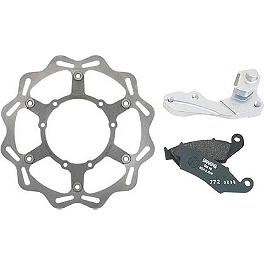 Braking W-FLO Oversized Brake Rotor Kit - Front - 2007 Honda CRF150R Big Wheel Braking SM1 Semi-Metallic Brake Pads - Front Left
