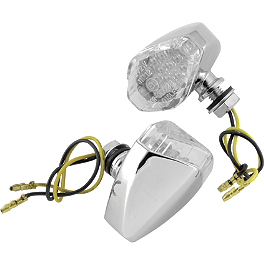 BikeMaster Mini Corner Cateye LED Turn Signals - BikeMaster Tube 2.75/3.00-17 Straight Metal Stem