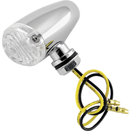 BikeMaster Mini Tear Drop LED Turn Signals - BikeMaster Tube 2.75/3.00-16 Straight Metal Stem