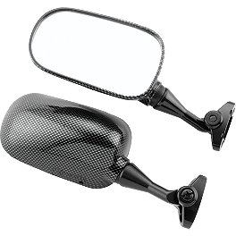 BikeMaster Carbon Look Replacement Mirror - Left - 2002 Honda CBR954RR BikeMaster Black Replacement Mirror - Left