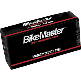 BikeMaster Tube 3.25/3.50-19 Straight Rubber Stem - BikeMaster Mirror Adapters - 8mm Male To 10mm Male / Chrome