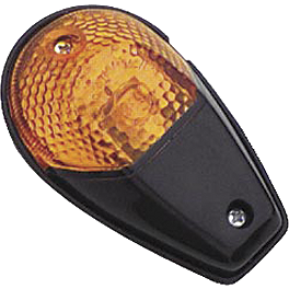 BikeMaster Universal Flush Mount Black Mini Marker Lights - BikeMaster Black Replacement Mirror - Left