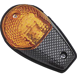 BikeMaster Universal Flush Mount Carbon Mini Marker Lights - BikeMaster Black Replacement Mirror - Left