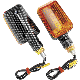 BikeMaster Universal Mini Stalk Carbon Mini Marker Lights - BikeMaster Old School Flame Mirrors